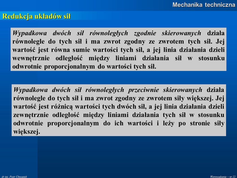 Wprowadzenie – nr 22 Mechanika techniczna dr inż. Piotr Chwastyk Redukcja układów sił Wypadkowa dwóch sił równoległych zgodnie skierowanych działa rów