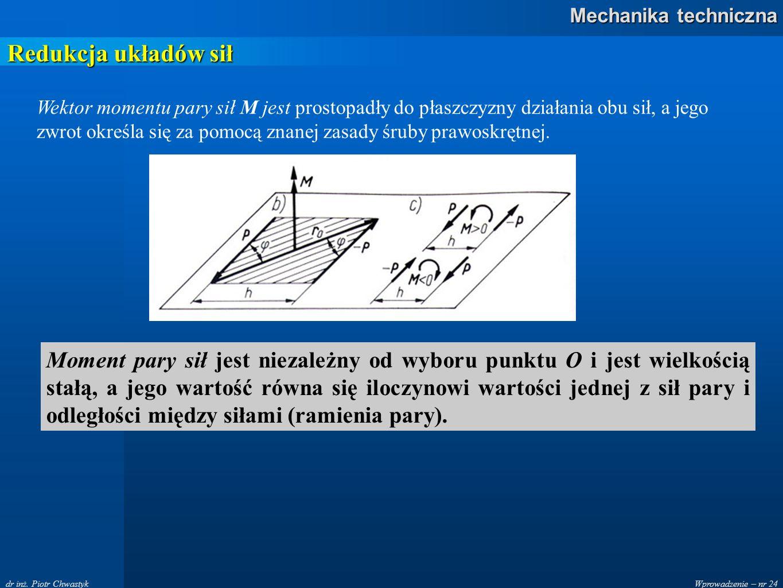 Wprowadzenie – nr 24 Mechanika techniczna dr inż. Piotr Chwastyk Redukcja układów sił Wektor momentu pary sił M jest prostopadły do płaszczyzny działa