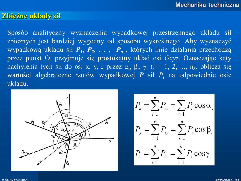 Wprowadzenie – nr 6 Mechanika techniczna dr inż. Piotr Chwastyk Zbieżne układy sił Sposób analityczny wyznaczenia wypadkowej przestrzennego układu sił