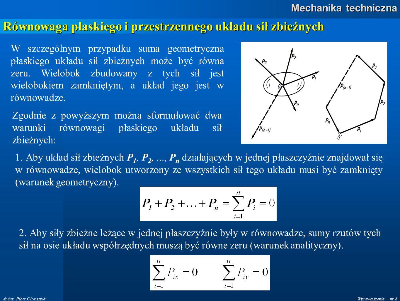 Wprowadzenie – nr 8 Mechanika techniczna dr inż. Piotr Chwastyk Równowaga płaskiego i przestrzennego układu sił zbieżnych W szczególnym przypadku suma