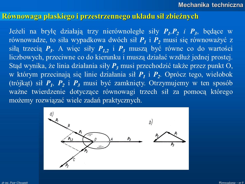Wprowadzenie – nr 9 Mechanika techniczna dr inż. Piotr Chwastyk Równowaga płaskiego i przestrzennego układu sił zbieżnych Jeżeli na bryłę działają trz