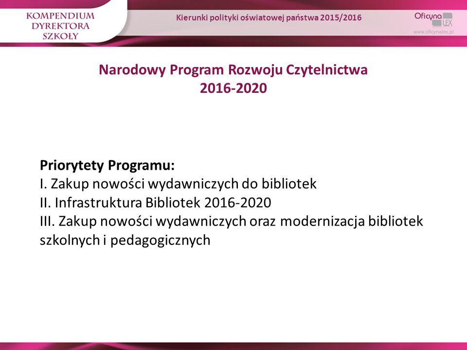 Narodowy Program Rozwoju Czytelnictwa 2016-2020 Priorytety Programu: I. Zakup nowości wydawniczych do bibliotek II. Infrastruktura Bibliotek 2016-2020