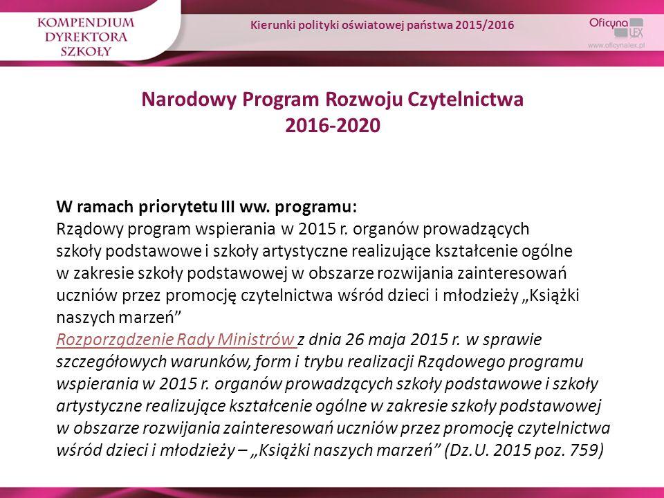 Narodowy Program Rozwoju Czytelnictwa 2016-2020 W ramach priorytetu III ww. programu: Rządowy program wspierania w 2015 r. organów prowadzących szkoły