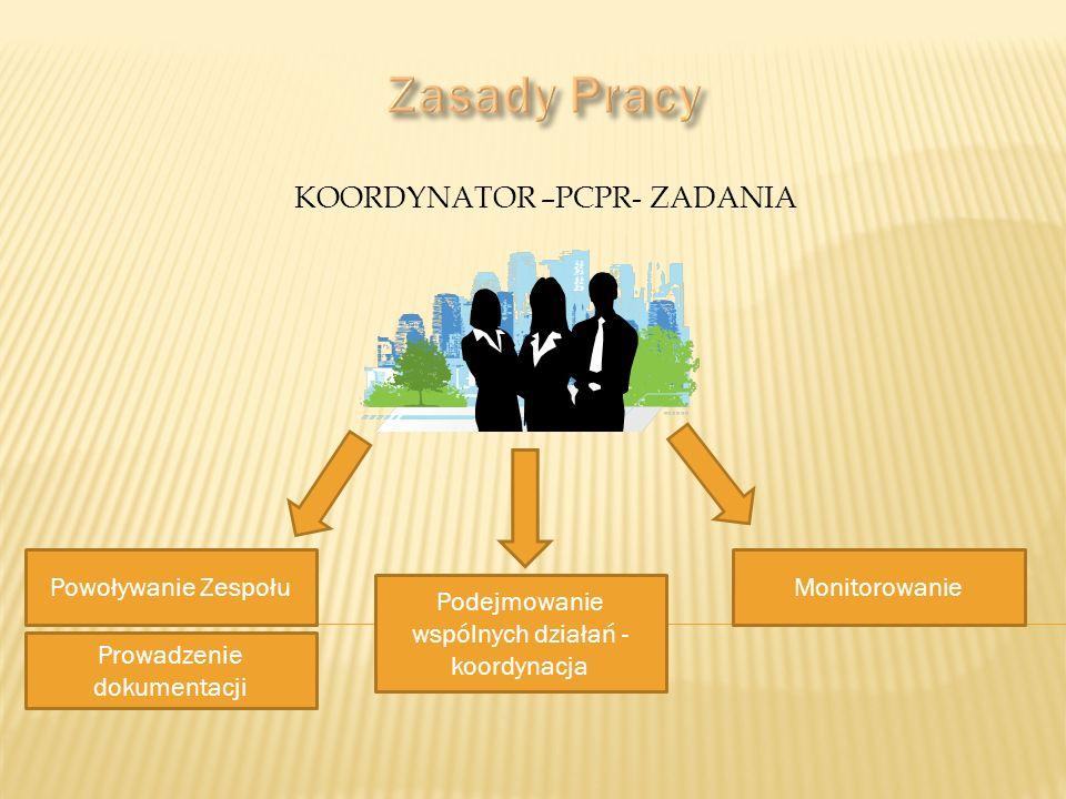 KOORDYNATOR –PCPR- ZADANIA Powoływanie Zespołu Prowadzenie dokumentacji Podejmowanie wspólnych działań - koordynacja Monitorowanie