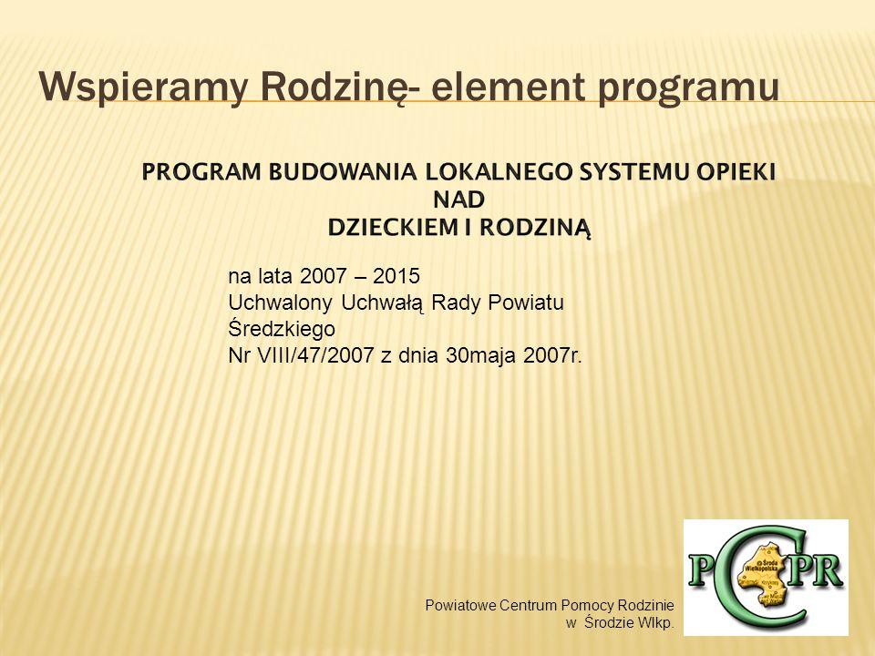 Wspieramy Rodzinę- element programu na lata 2007 – 2015 Uchwalony Uchwałą Rady Powiatu Średzkiego Nr VIII/47/2007 z dnia 30maja 2007r.