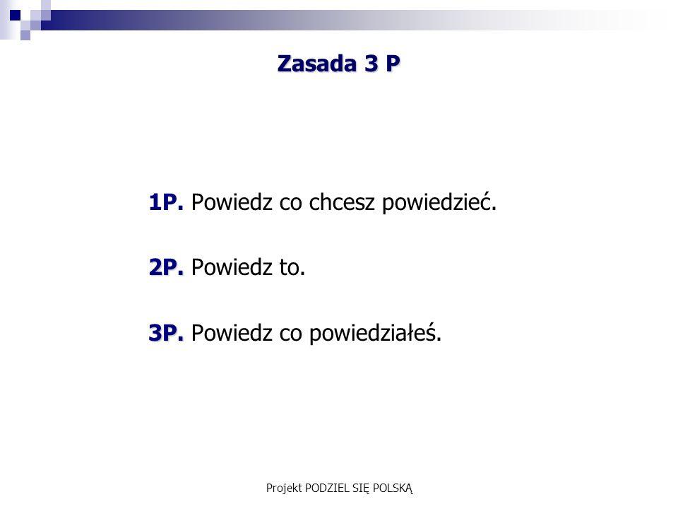 Projekt PODZIEL SIĘ POLSKĄ Zasada 3 P 1P. Powiedz co chcesz powiedzieć.