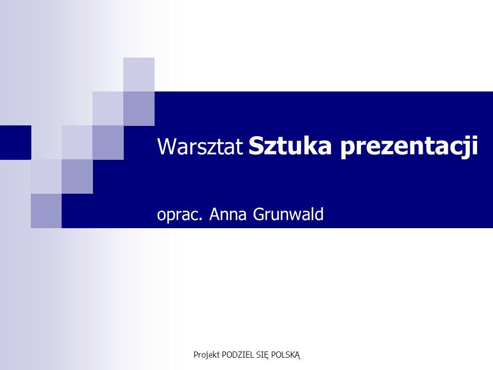 Projekt PODZIEL SIĘ POLSKĄ Cel warsztatu zdobycie wiedzy na temat zasad udanej prezentacji i wystąpień publicznych.