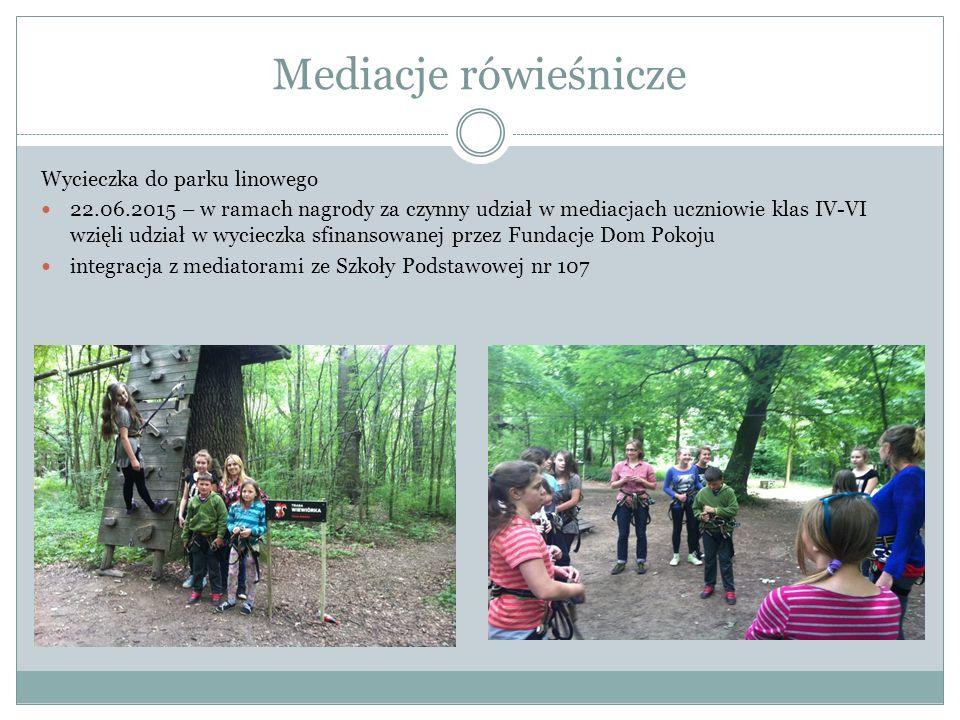 Wizyta studyjna w Holandii Wizyta w szkołach w Holandii realizujących program Mediacji rówieśniczych listopad 2014 i sierpień 2015 uczestniczenie w spotkaniu Dzielnicy Pokoju