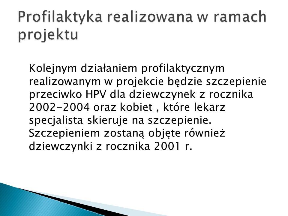 Kolejnym działaniem profilaktycznym realizowanym w projekcie będzie szczepienie przeciwko HPV dla dziewczynek z rocznika 2002-2004 oraz kobiet, które