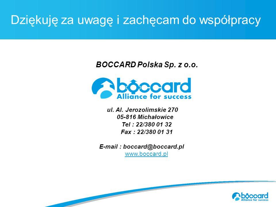 Titre principal c.40Dziękuję za uwagę i zachęcam do współpracy BOCCARD Polska Sp.