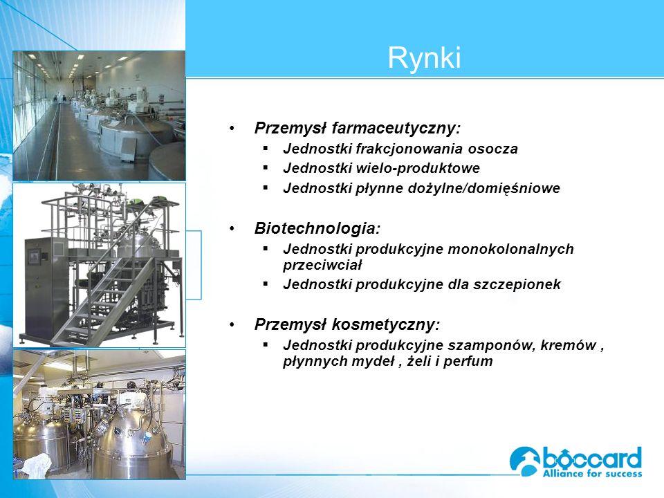 Przemysł farmaceutyczny:  Jednostki frakcjonowania osocza  Jednostki wielo-produktowe  Jednostki płynne dożylne/domięśniowe Biotechnologia:  Jednostki produkcyjne monokolonalnych przeciwciał  Jednostki produkcyjne dla szczepionek Przemysł kosmetyczny:  Jednostki produkcyjne szamponów, kremów, płynnych mydeł, żeli i perfum Rynki