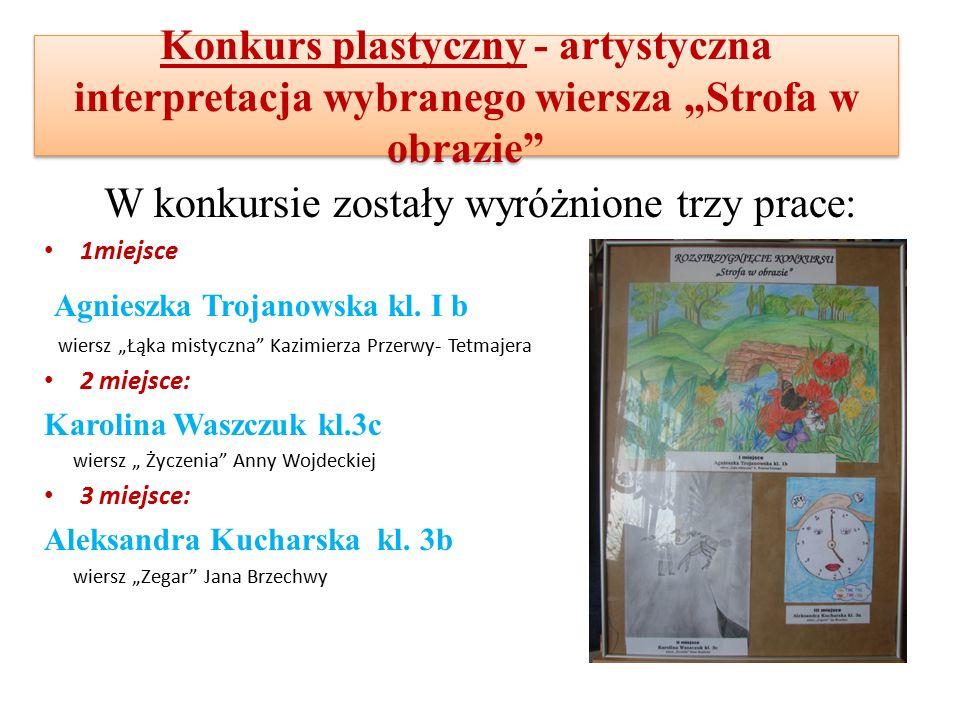 """Konkurs plastyczny - artystyczna interpretacja wybranego wiersza """"Strofa w obrazie W konkursie zostały wyróżnione trzy prace: 1miejsce Agnieszka Trojanowska kl."""