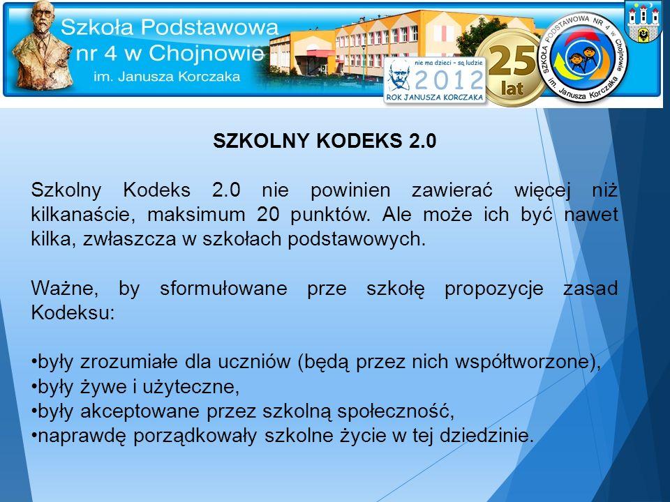 SZKOLNY KODEKS 2.0 Szkolny Kodeks 2.0 nie powinien zawierać więcej niż kilkanaście, maksimum 20 punktów. Ale może ich być nawet kilka, zwłaszcza w szk