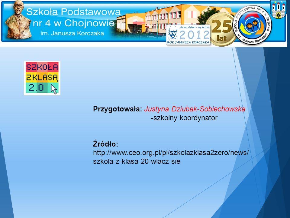 Przygotowała: Justyna Dziubak-Sobiechowska -szkolny koordynator Źródło: http://www.ceo.org.pl/pl/szkolazklasa2zero/news/ szkola-z-klasa-20-wlacz-sie