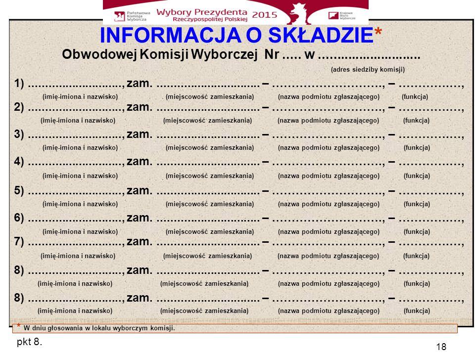 18 INFORMACJA O SKŁADZIE* Obwodowej Komisji Wyborczej Nr.....