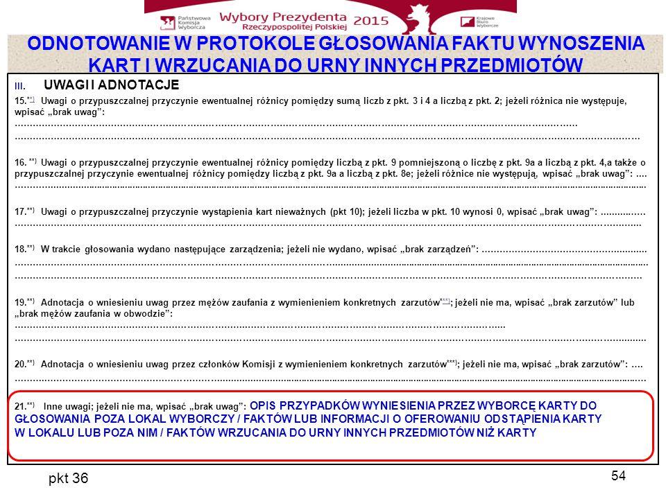 ODNOTOWANIE W PROTOKOLE GŁOSOWANIA FAKTU WYNOSZENIA KART I WRZUCANIA DO URNY INNYCH PRZEDMIOTÓW pkt 36 54 III.