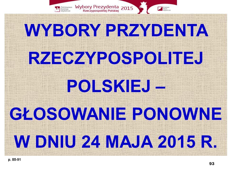 WYBORY PRZYDENTA RZECZYPOSPOLITEJ POLSKIEJ – GŁOSOWANIE PONOWNE W DNIU 24 MAJA 2015 R. 93 p. 85-91
