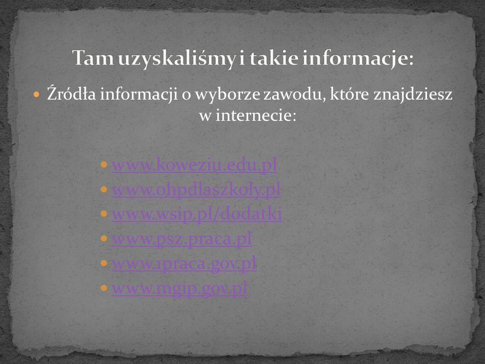 Źródła informacji o wyborze zawodu, które znajdziesz w internecie: www.koweziu.edu.pl www.ohpdlaszkoly.pl www.wsip.pl/dodatki www.psz.praca.pl www.1praca.gov.pl www.mgip.gov.pl