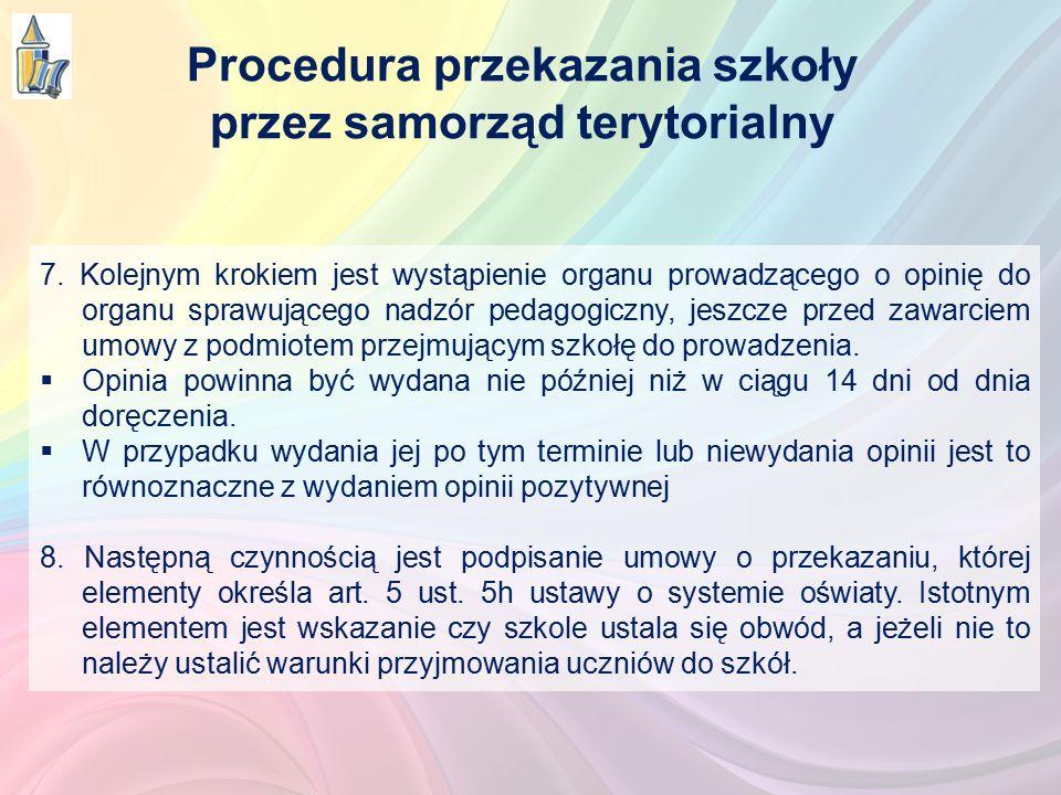 7. Kolejnym krokiem jest wystąpienie organu prowadzącego o opinię do organu sprawującego nadzór pedagogiczny, jeszcze przed zawarciem umowy z podmiote