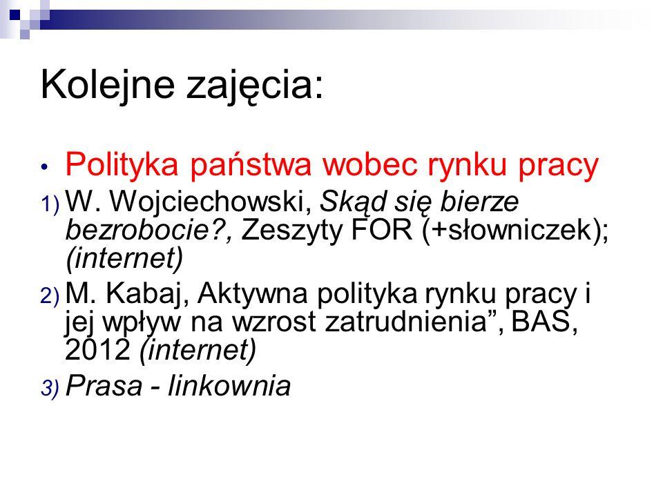 Kolejne zajęcia: Polityka państwa wobec rynku pracy 1) W. Wojciechowski, Skąd się bierze bezrobocie?, Zeszyty FOR (+słowniczek); (internet) 2) M. Kaba