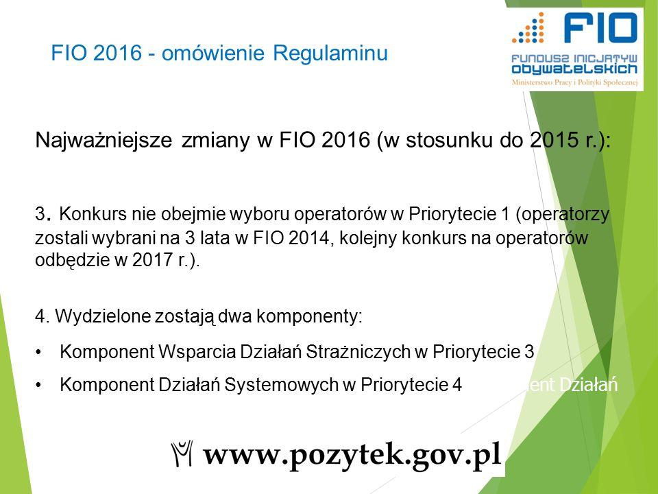 17 Najważniejsze zmiany w FIO 2016 (w stosunku do 2015 r.): 3.