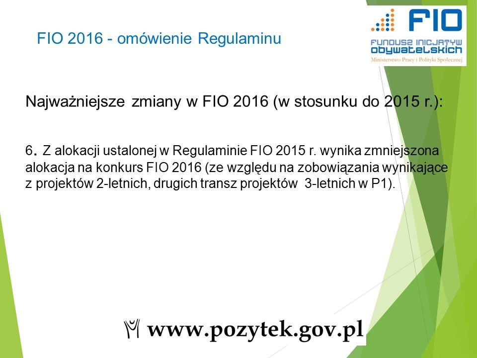 19 Najważniejsze zmiany w FIO 2016 (w stosunku do 2015 r.): 6.