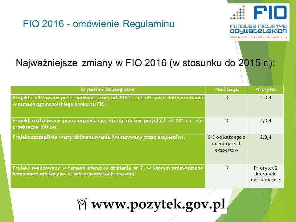 22 Najważniejsze zmiany w FIO 2016 (w stosunku do 2015 r.): FIO 2016 - omówienie Regulaminu Kryterium StrategicznePunktacjaPriorytet Projekt realizowany przez podmiot, który od 2014 r.