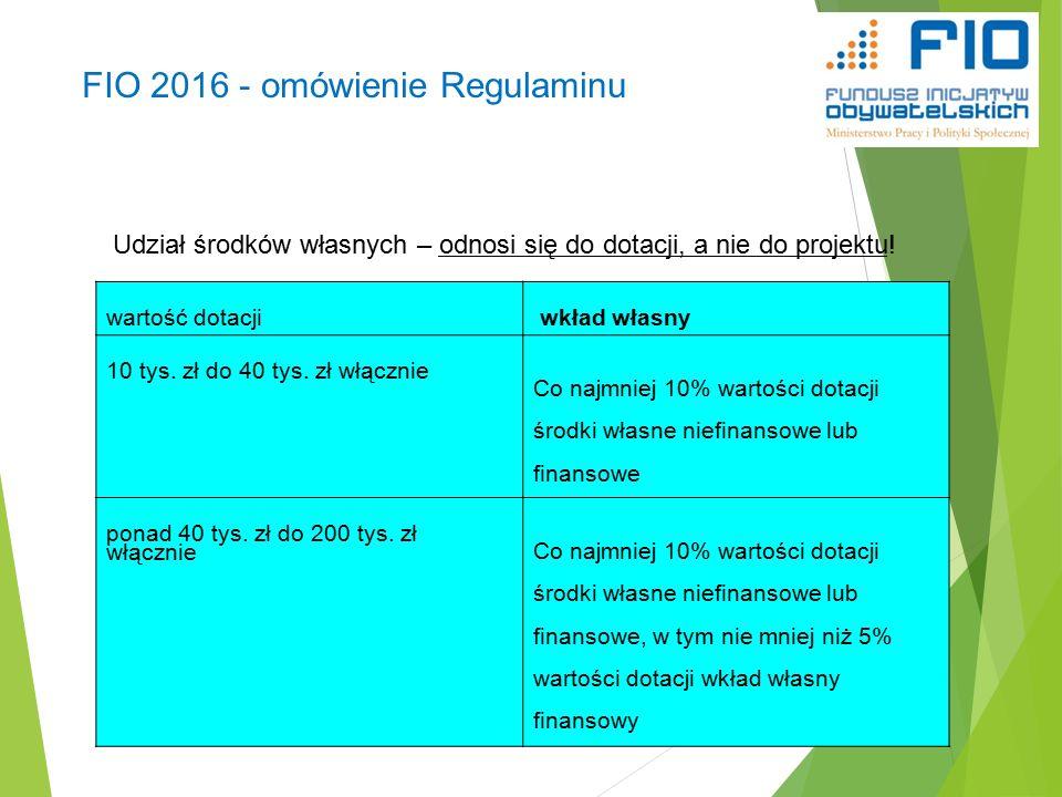 FIO 2016 - omówienie Regulaminu 29 wartość dotacji wkład własny 10 tys.