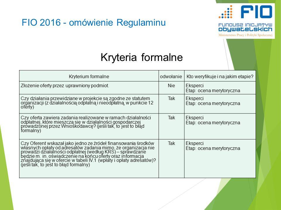 FIO 2016 - omówienie Regulaminu Kryteria formalne 38 Kryterium formalneodwołanieKto weryfikuje i na jakim etapie.