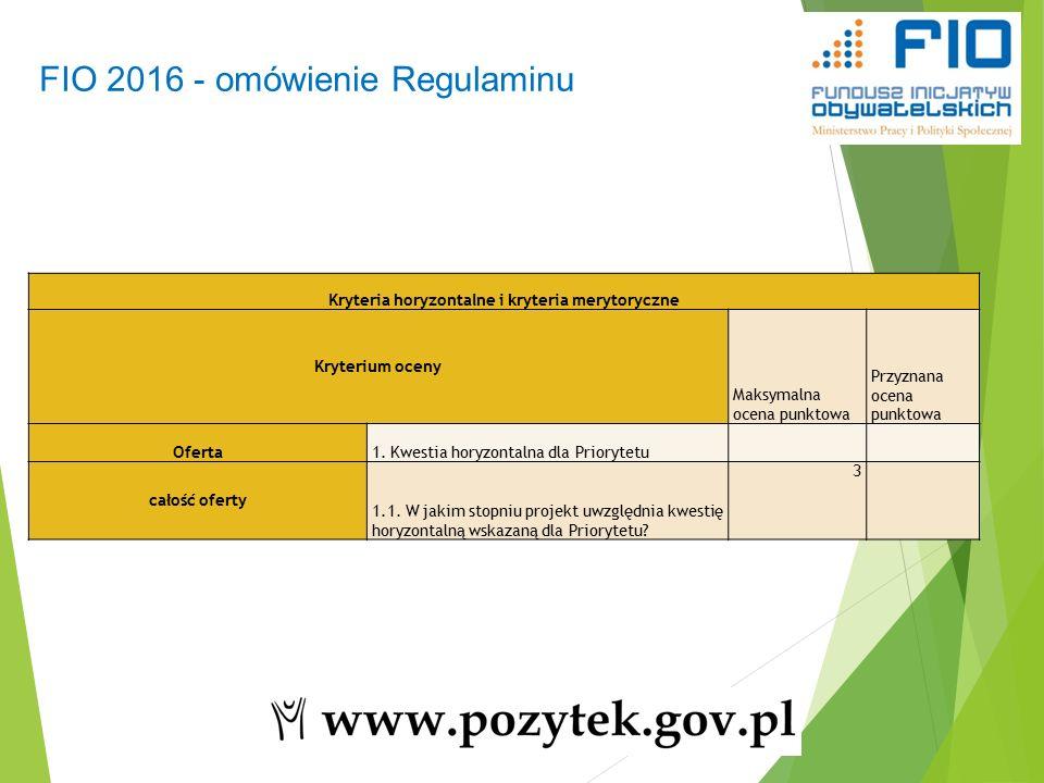 FIO 2016 - omówienie Regulaminu 44 Kryteria horyzontalne i kryteria merytoryczne Kryterium oceny Maksymalna ocena punktowa Przyznana ocena punktowa Oferta1.