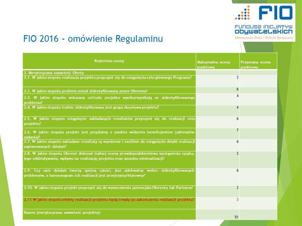 FIO 2016 - omówienie Regulaminu Kryterium oceny Maksymalna ocena punktowa Przyznana ocena punktowa 2.