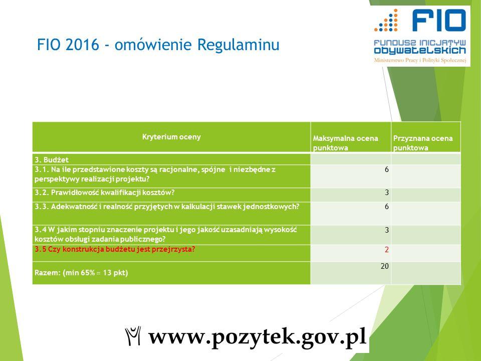 FIO 2016 - omówienie Regulaminu Kryterium oceny Maksymalna ocena punktowa Przyznana ocena punktowa 3.