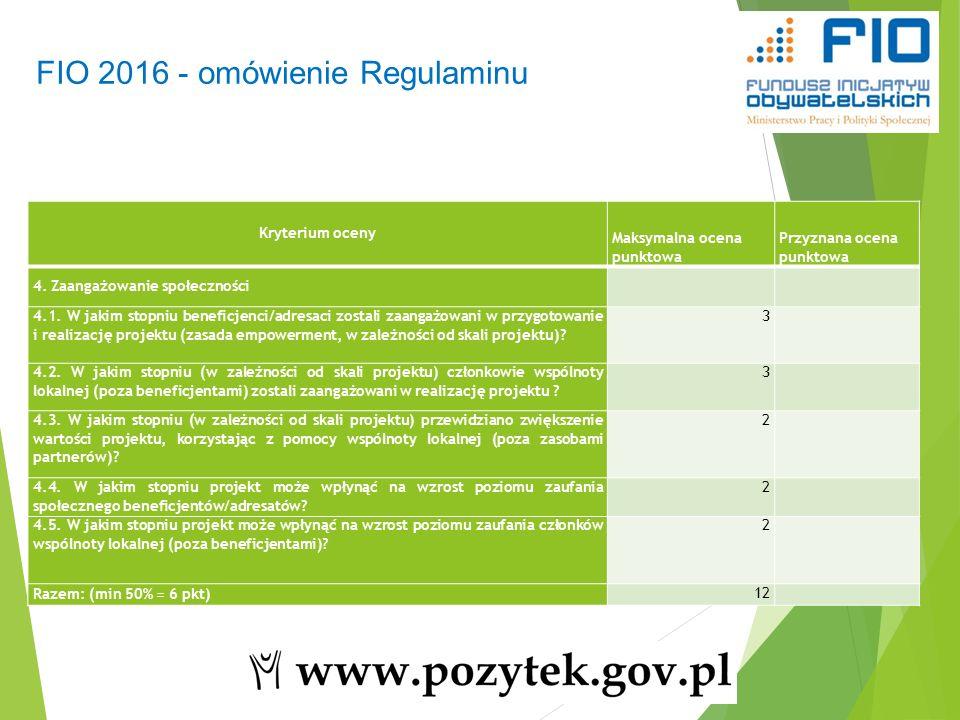 48 FIO 2016 - omówienie Regulaminu Kryterium oceny Maksymalna ocena punktowa Przyznana ocena punktowa 4.