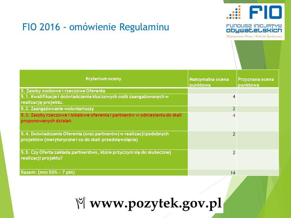 FIO 2016 - omówienie Regulaminu Kryterium oceny Maksymalna ocena punktowa Przyznana ocena punktowa 5.