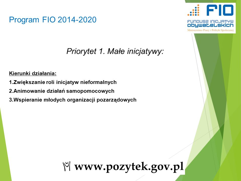 Program FIO 2014-2020 6 Priorytet 1.