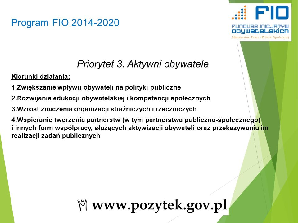 Program FIO 2014-2020 8 Priorytet 3.