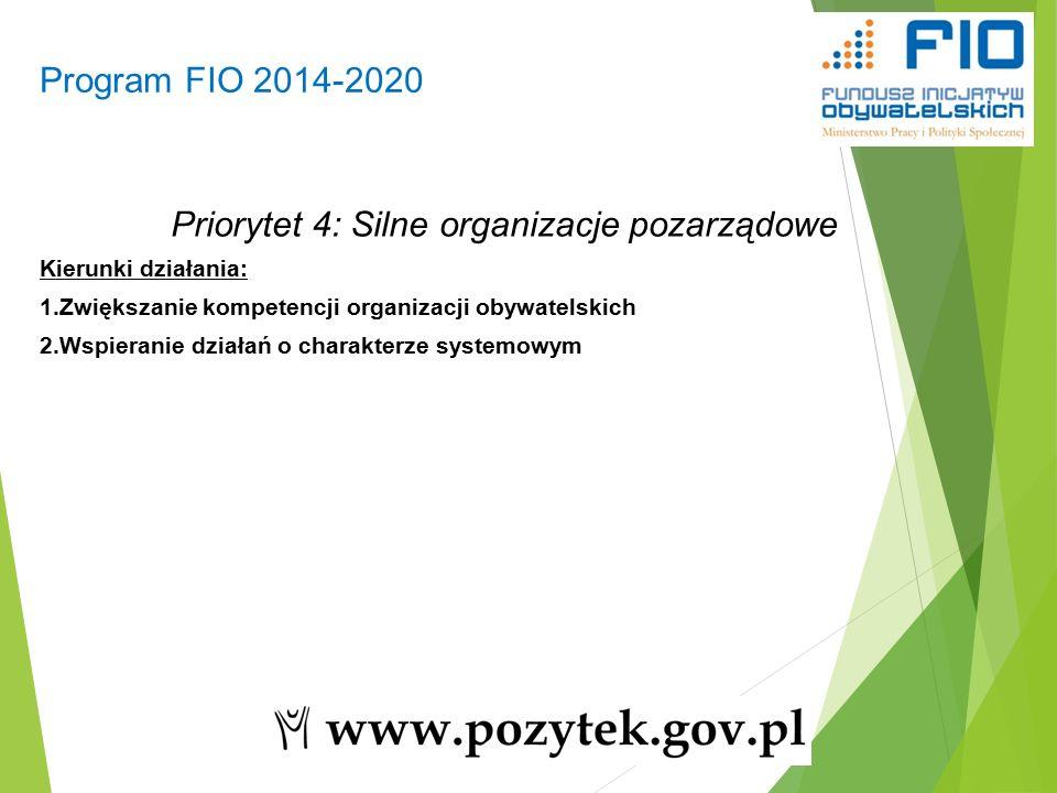 Program FIO 2014-2020 9 Priorytet 4: Silne organizacje pozarządowe Kierunki działania: 1.Zwiększanie kompetencji organizacji obywatelskich 2.Wspieranie działań o charakterze systemowym