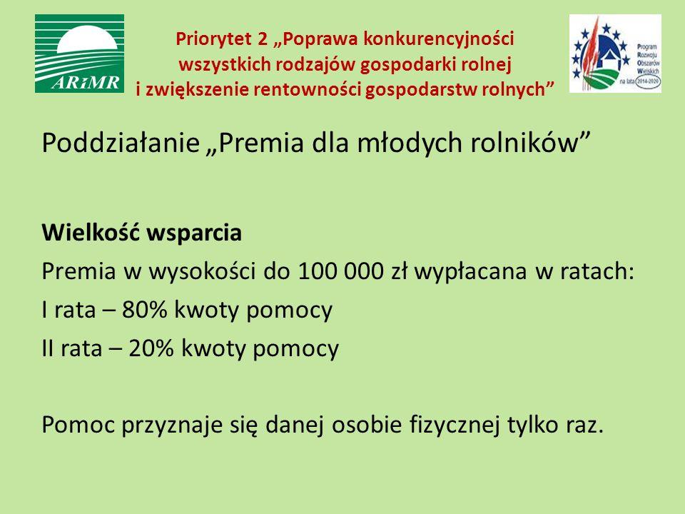 """Priorytet 2 """"Poprawa konkurencyjności wszystkich rodzajów gospodarki rolnej i zwiększenie rentowności gospodarstw rolnych"""" Poddziałanie """"Premia dla mł"""