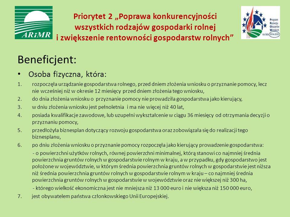 """Priorytet 2 """"Poprawa konkurencyjności wszystkich rodzajów gospodarki rolnej i zwiększenie rentowności gospodarstw rolnych"""" Beneficjent: Osoba fizyczna"""