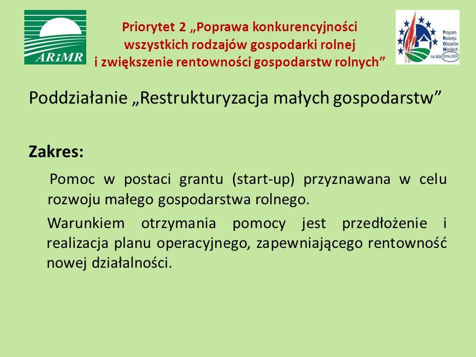 """Priorytet 2 """"Poprawa konkurencyjności wszystkich rodzajów gospodarki rolnej i zwiększenie rentowności gospodarstw rolnych Poddziałanie """"Restrukturyzacja małych gospodarstw Zakres: Pomoc w postaci grantu (start-up) przyznawana w celu rozwoju małego gospodarstwa rolnego."""