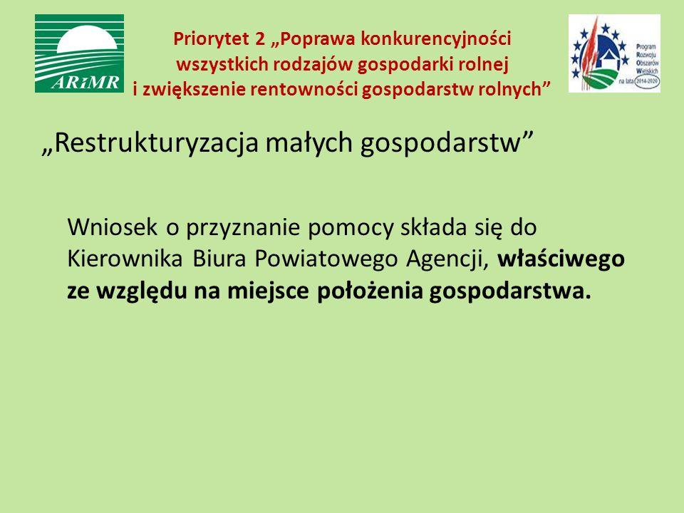 """Priorytet 2 """"Poprawa konkurencyjności wszystkich rodzajów gospodarki rolnej i zwiększenie rentowności gospodarstw rolnych"""" """"Restrukturyzacja małych go"""