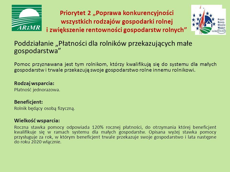 """Priorytet 2 """"Poprawa konkurencyjności wszystkich rodzajów gospodarki rolnej i zwiększenie rentowności gospodarstw rolnych"""" Poddziałanie """"Płatności dla"""