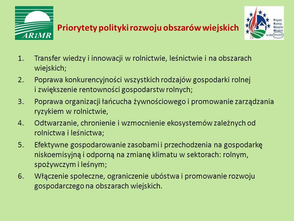 Priorytety polityki rozwoju obszarów wiejskich 1.Transfer wiedzy i innowacji w rolnictwie, leśnictwie i na obszarach wiejskich; 2.Poprawa konkurencyjności wszystkich rodzajów gospodarki rolnej i zwiększenie rentowności gospodarstw rolnych; 3.Poprawa organizacji łańcucha żywnościowego i promowanie zarządzania ryzykiem w rolnictwie, 4.Odtwarzanie, chronienie i wzmocnienie ekosystemów zależnych od rolnictwa i leśnictwa; 5.Efektywne gospodarowanie zasobami i przechodzenia na gospodarkę niskoemisyjną i odporną na zmianę klimatu w sektorach: rolnym, spożywczym i leśnym; 6.Włączenie społeczne, ograniczenie ubóstwa i promowanie rozwoju gospodarczego na obszarach wiejskich.