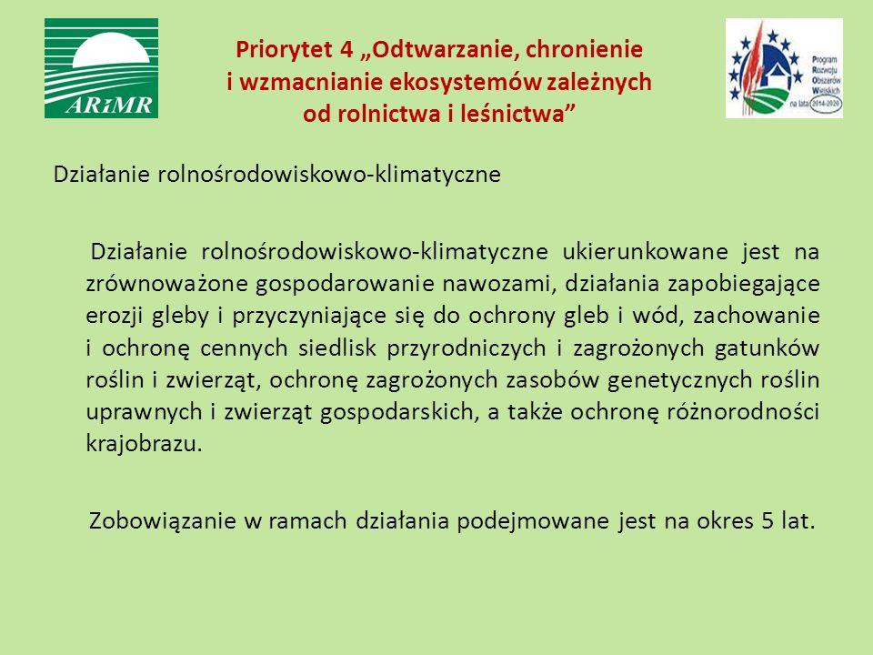 """Priorytet 4 """"Odtwarzanie, chronienie i wzmacnianie ekosystemów zależnych od rolnictwa i leśnictwa"""" Działanie rolnośrodowiskowo-klimatyczne Działanie r"""