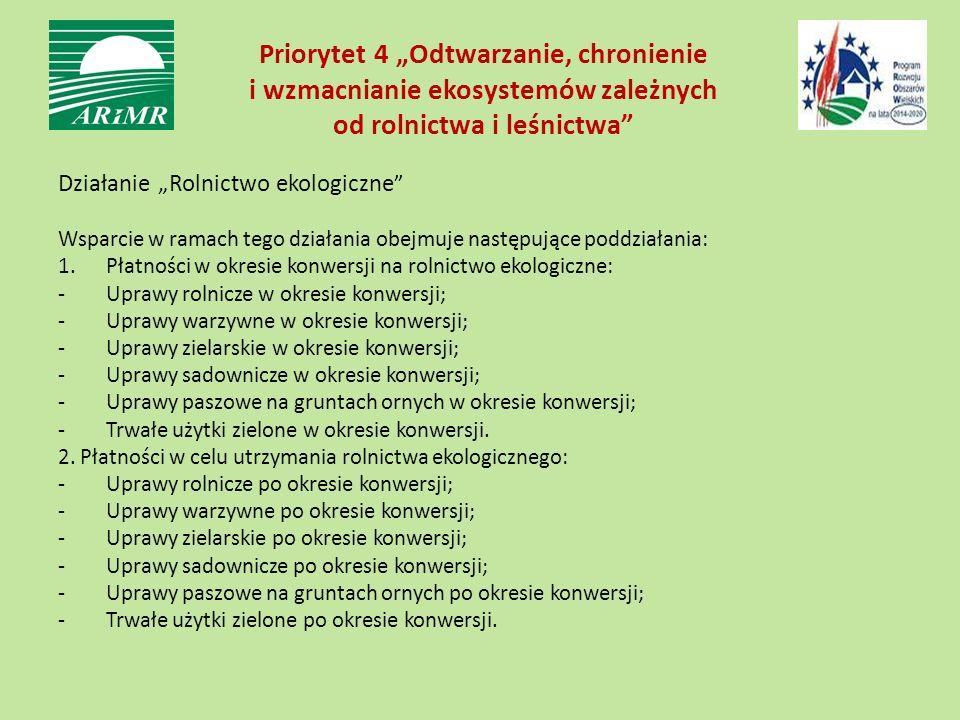 """Priorytet 4 """"Odtwarzanie, chronienie i wzmacnianie ekosystemów zależnych od rolnictwa i leśnictwa"""" Działanie """"Rolnictwo ekologiczne """" Wsparcie w ramac"""