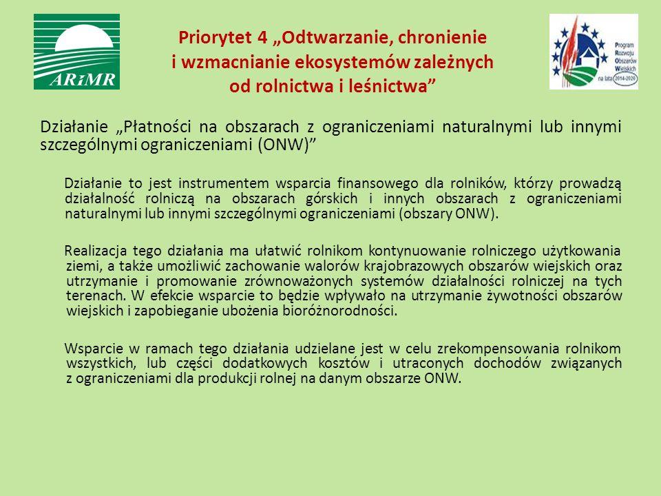"""Priorytet 4 """"Odtwarzanie, chronienie i wzmacnianie ekosystemów zależnych od rolnictwa i leśnictwa"""" Działanie """"Płatności na obszarach z ograniczeniami"""