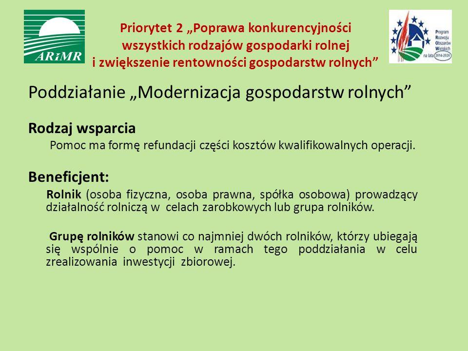 """Priorytet 2 """"Poprawa konkurencyjności wszystkich rodzajów gospodarki rolnej i zwiększenie rentowności gospodarstw rolnych Poddziałanie """"Modernizacja gospodarstw rolnych Rodzaj wsparcia Pomoc ma formę refundacji części kosztów kwalifikowalnych operacji."""