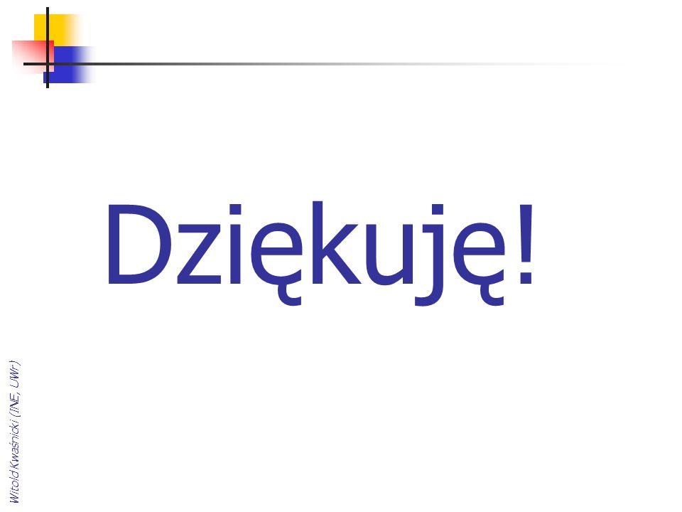 Dziękuję! Witold Kwaśnicki (INE, UWr)
