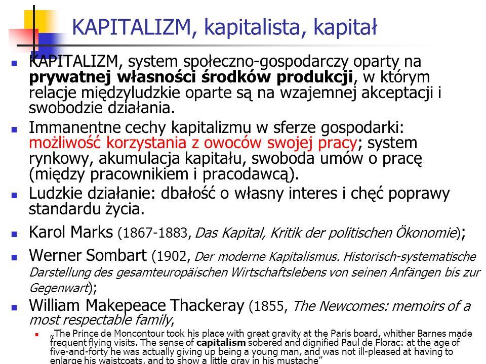 KAPITALIZM, kapitalista, kapitał KAPITALIZM, system społeczno-gospodarczy oparty na prywatnej własności środków produkcji, w którym relacje międzyludzkie oparte są na wzajemnej akceptacji i swobodzie działania.