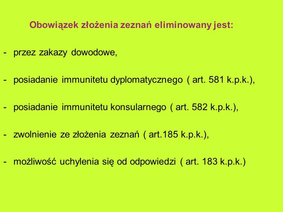 Obowiązek złożenia zeznań eliminowany jest: -przez zakazy dowodowe, -posiadanie immunitetu dyplomatycznego ( art.